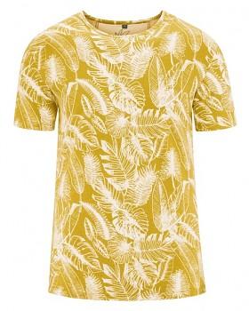 JUNGLE pánské tričko s krátkým rukávem z konopí a biobavlny - žlutá curry