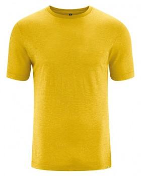 KORPER pánské tričko s krátkým rukávem z konopí a biobavlny - žlutá curry