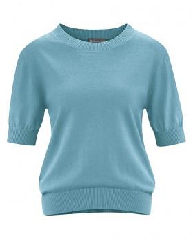 FEMI dámský svetr s krátkými rukávy z konopí a biobavlny - modrá wave