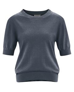 FEMI dámský svetr s krátkými rukávy z konopí a biobavlny - tmavě šedá dark