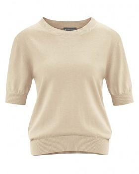 FEMI dámský svetr s krátkými rukávy z konopí a biobavlny - béžová gobi