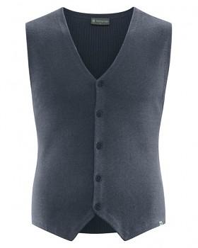 KNITT pánská pletená vesta z konopí a biobavlny - tmavě šedá dark