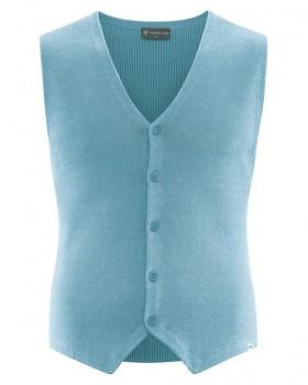 KNITT pánská pletená vesta z konopí a biobavlny - modrá wave