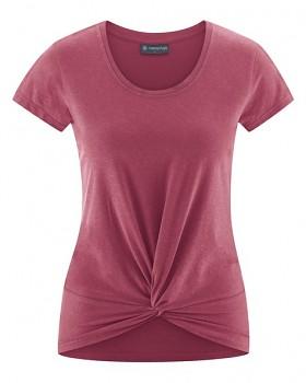 KNOT Dámské tričko s krátkými rukávy z biobavlny a konopí - červená tinto