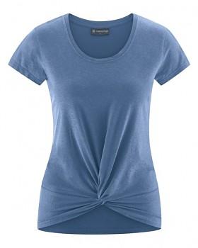 KNOT Dámské tričko s krátkými rukávy z biobavlny a konopí - modrá blueberry