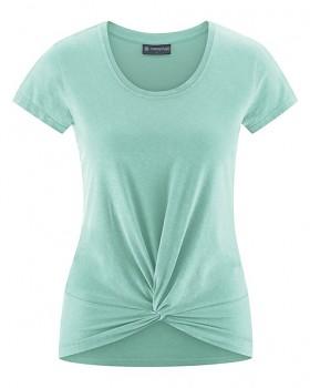 KNOT Dámské tričko s krátkými rukávy z biobavlny a konopí - světle modrá sage