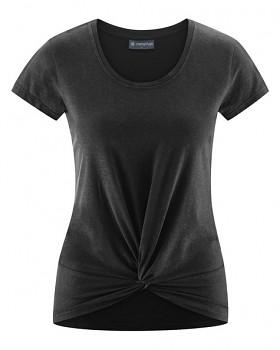 KNOT Dámské tričko s krátkými rukávy z biobavlny a konopí - černá