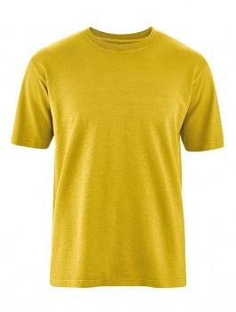 OTTFRIED pánské tričko s krátkým rukávem z biobavlny a konopí - žlutá curry