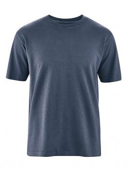 OTTFRIED pánské tričko s krátkým rukávem z biobavlny a konopí - tmavě modrá wintersky