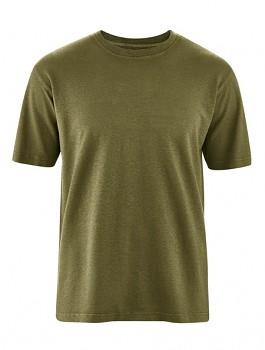OTTFRIED pánské tričko s krátkým rukávem z biobavlny a konopí - hnědá peat