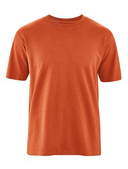OTTFRIED pánské tričko s krátkým rukávem z biobavlny a konopí - oranžová fox