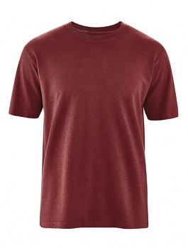 OTTFRIED pánské tričko s krátkým rukávem z biobavlny a konopí - červenohnědá chestnut