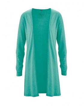 IRIS dámský kardigan z konopí a biobavlny - modrozelená emerald