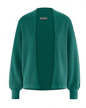 JACKE dámský pletený svetr z konopí a biobavlny - zelená spruce
