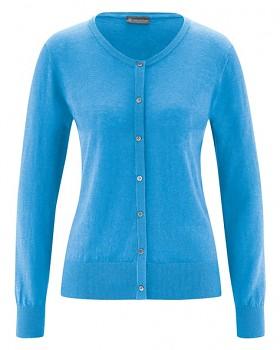 PERLMUT dámský pletený svetr z konopí a biobavlny - modrá topaz