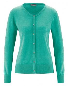 PERLMUT dámský pletený svetr z konopí a biobavlny - modrozelená emerald