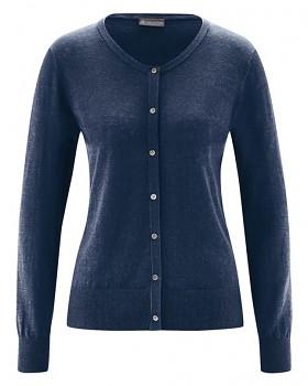 PERLMUT dámský pletený svetr z konopí a biobavlny - tmavě modrá navy
