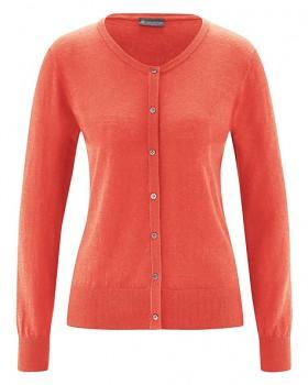 PERLMUT dámský pletený svetr z konopí a biobavlny - oranžová crab