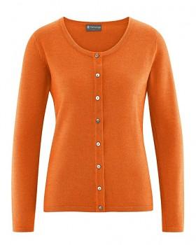 WOOLJACKE dámský propínací svetr z vlny, biobavlny a konopí - oranžová pumpkin