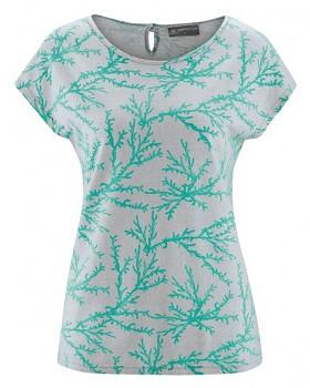CORAL dámské tričko z konopí a biobavlny - modrozelená emerald