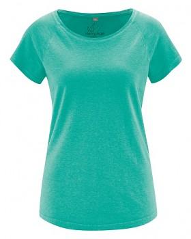 ROLT dámské raglánové tričko z konopí a biobavlny - modrozelená emerald