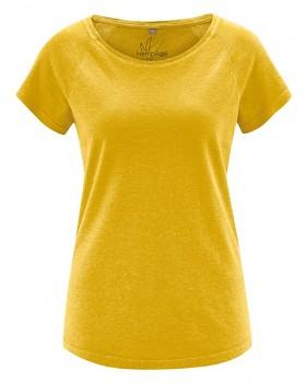 ROLT dámské raglánové tričko z konopí a biobavlny - žlutá curry