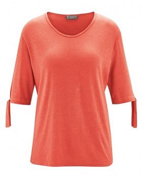 BOW dámský top s 1/2 rukávy z konopí a biobavlny - oranžová crab