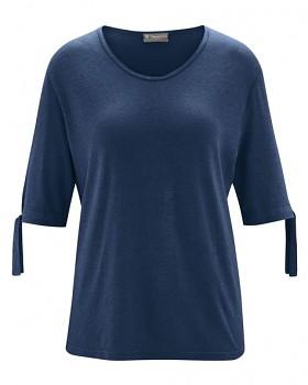 BOW dámský top s 1/2 rukávy z konopí a biobavlny - tmavě modrá navy