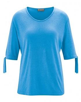 BOW dámský top s 1/2 rukávy z konopí a biobavlny - modrá topaz