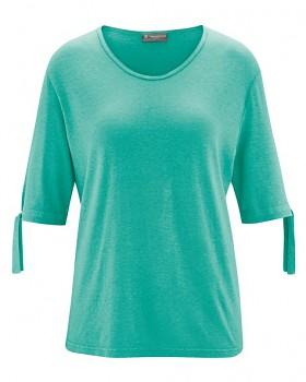 BOW dámský top s 1/2 rukávy z konopí a biobavlny - modrozelená emerald