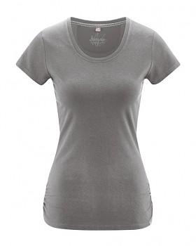 ELLA dámské tričko s krátkými rukávy z konopí a biobavlny - béžová taupe