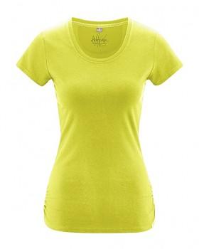 ELLA dámské tričko s krátkými rukávy z konopí a biobavlny - žlutá apple