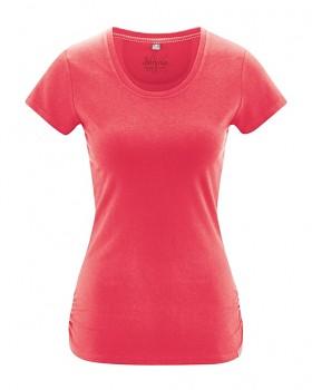 ELLA dámské tričko s krátkými rukávy z konopí a biobavlny - červená tomato
