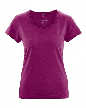 BREEZY dámské triko s krátkým rukávem z konopí a biobavlny - fialová berry