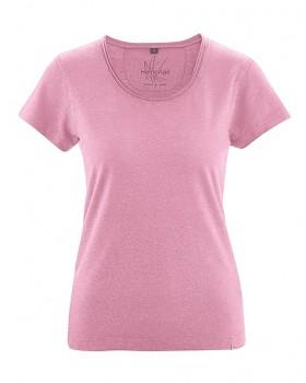 BREEZY dámské triko s krátkým rukávem z konopí a biobavlny - růžová rose