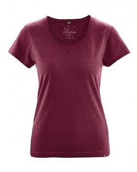 BREEZY dámské triko s krátkým rukávem z konopí a biobavlny - červená rioja