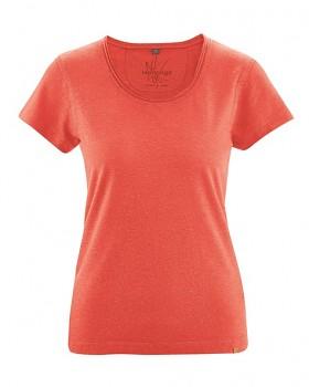 BREEZY dámské triko s krátkým rukávem z konopí a biobavlny - oranžová crab