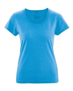 BREEZY dámské triko s krátkým rukávem z konopí a biobavlny - modrá topaz