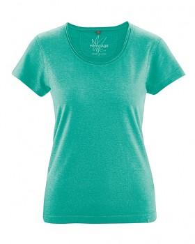 BREEZY dámské triko s krátkým rukávem z konopí a biobavlny - modrozelená emerald