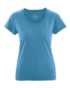 BREEZY dámské triko s krátkým rukávem z konopí a biobavlny - modrá atlantic