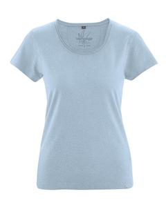 BREEZY dámské triko s krátkým rukávem z konopí a biobavlny - světle modrá clear sky