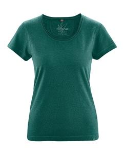 BREEZY dámské triko s krátkým rukávem z konopí a biobavlny - zelená spruce