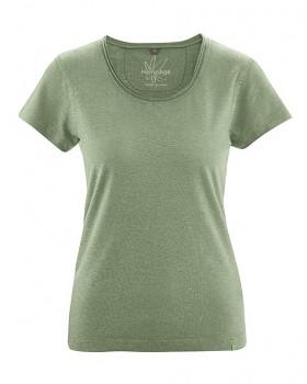 BREEZY dámské triko s krátkým rukávem z konopí a biobavlny - zelená cactus