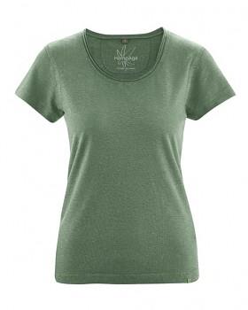 BREEZY dámské triko s krátkým rukávem z konopí a biobavlny - zelená herb