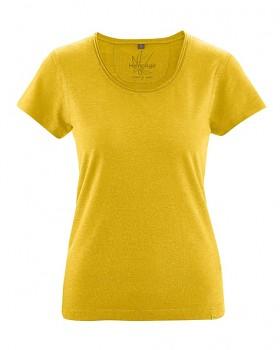 BREEZY dámské triko s krátkým rukávem z konopí a biobavlny - žlutá curry