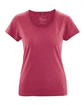 BREEZY dámské triko s krátkým rukávem z konopí a biobavlny - červená sangria