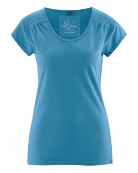 NANNI Dámské tričko z konopí a biobavlny - modrá atlantic