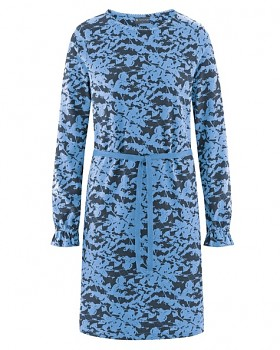 TAILLEE Dámské šaty s páskem z konopí a biobavlny - modrá heaven dark