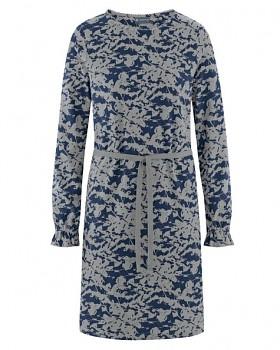 TAILLEE Dámské šaty s páskem z konopí a biobavlny - modro šedá rock navy
