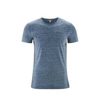KENNETH Pánské tričko s krátkými rukávy z biobavlny a lnu - modrá mid